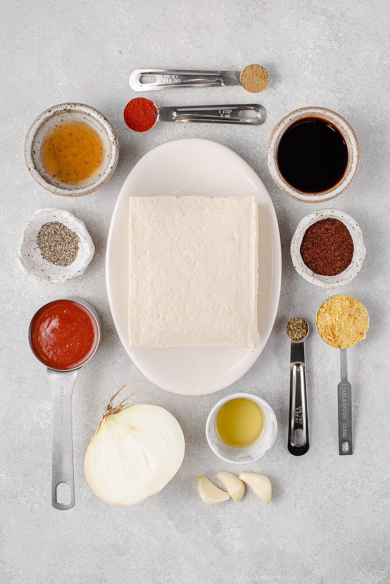 ingredients for tofu taco meat on a gray board