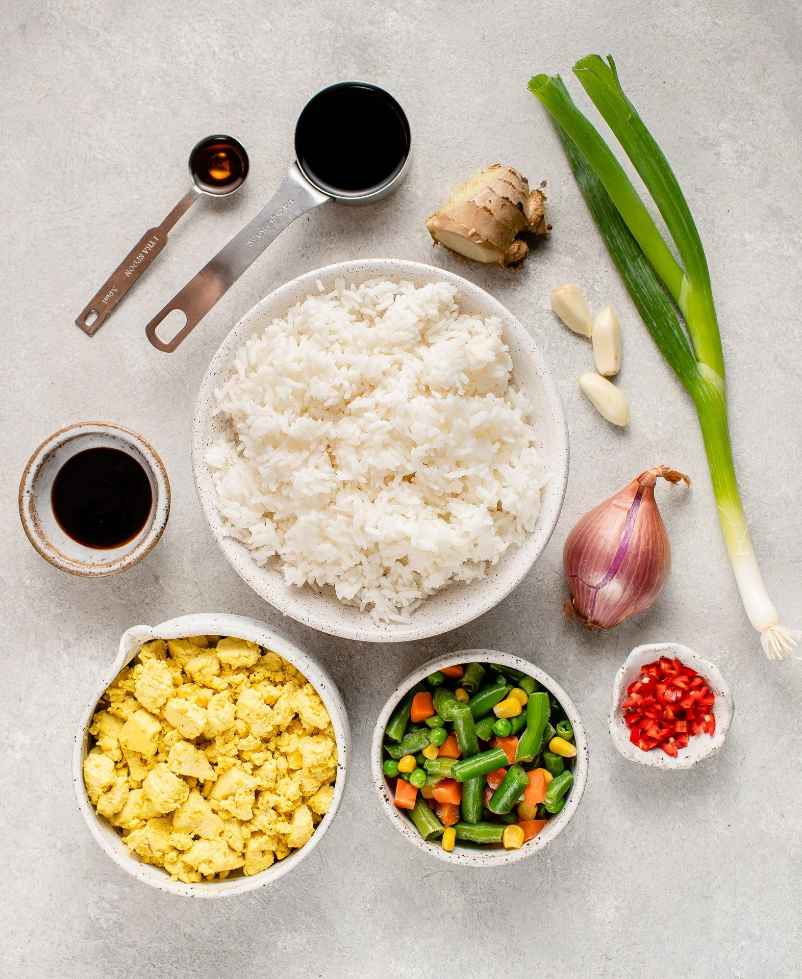 over head image of ingredients for fried rice