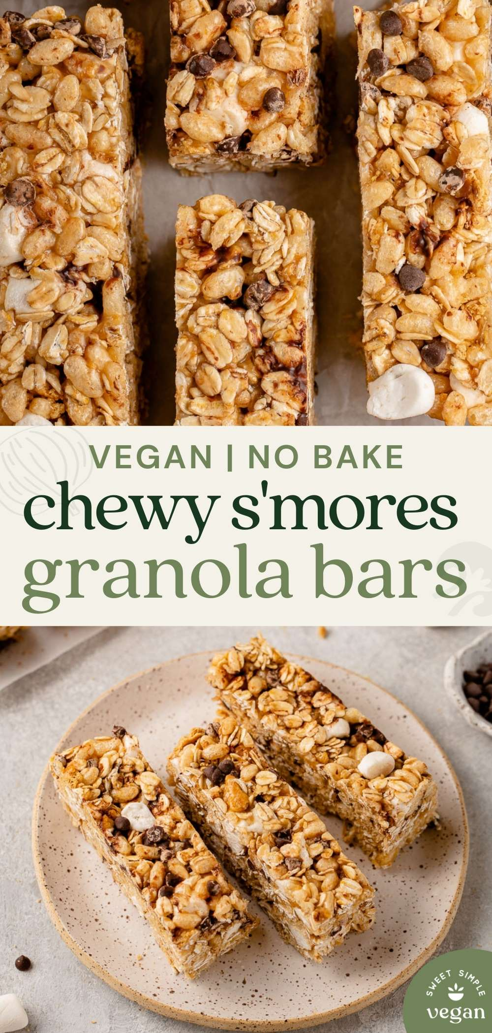 pinterest image of chewy s'mores granola bars with text
