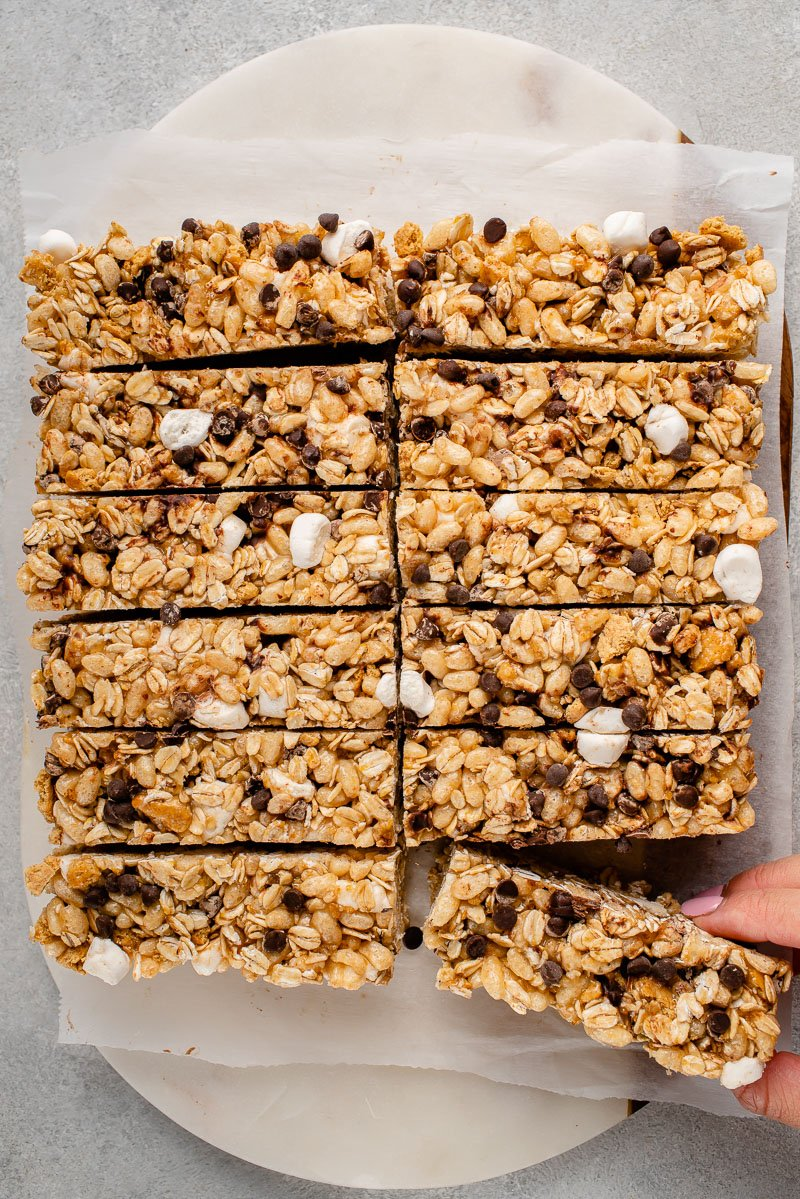 overhead image of s'mores granola bar