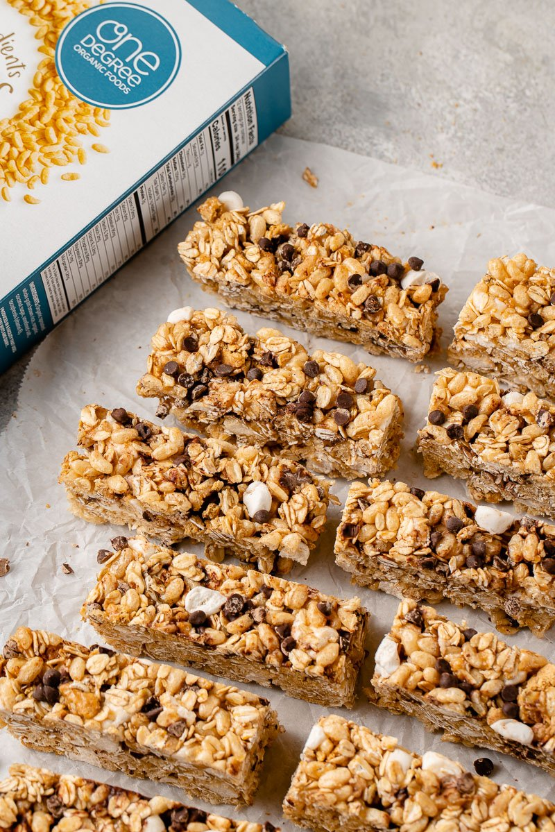 staggered granola bars on board with box