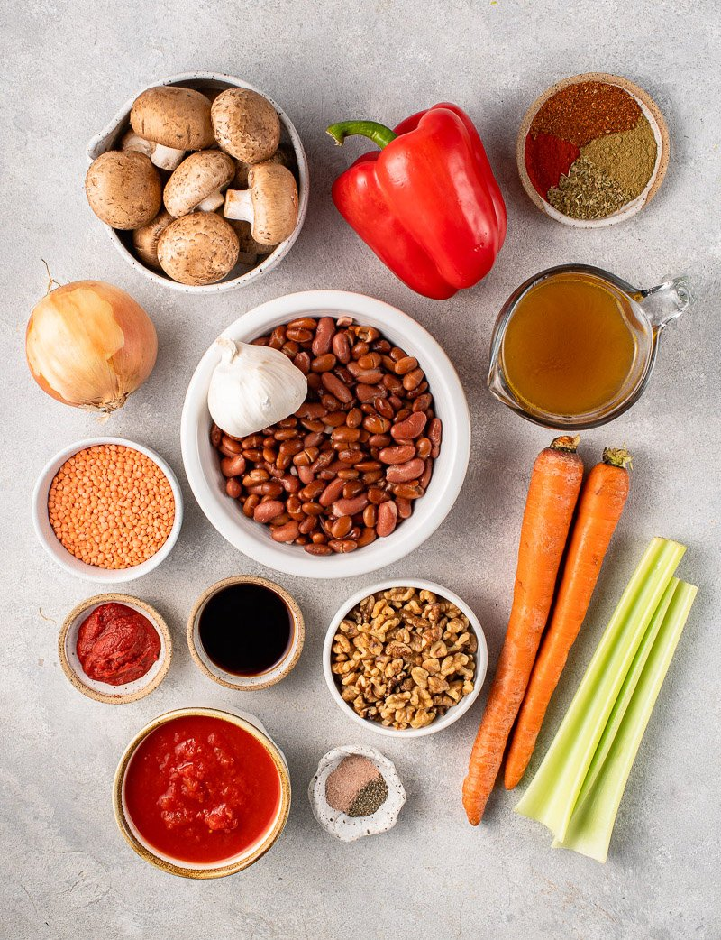 overhead image of ingredients for an easy vegan chili