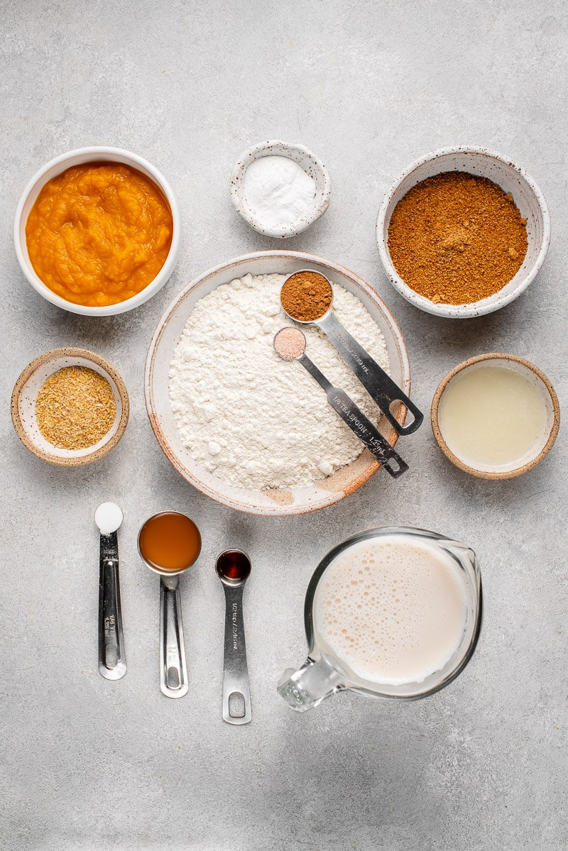 overhead image of ingredients for pancakes