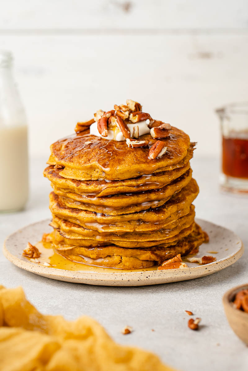 up close image of pumpkin pancakes