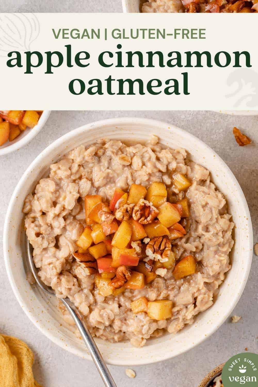vegan gluten-free apple cinnamon oatmeal image for pinterest