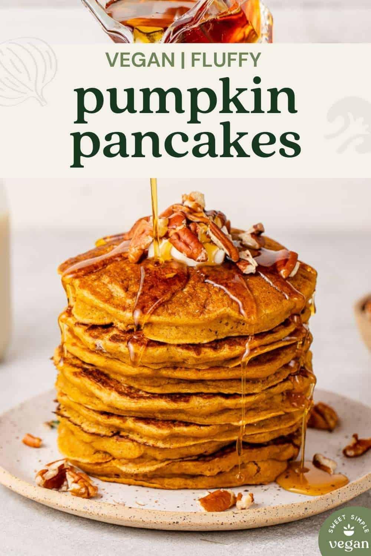 short pin vegan fluffy pancakes for pinterest