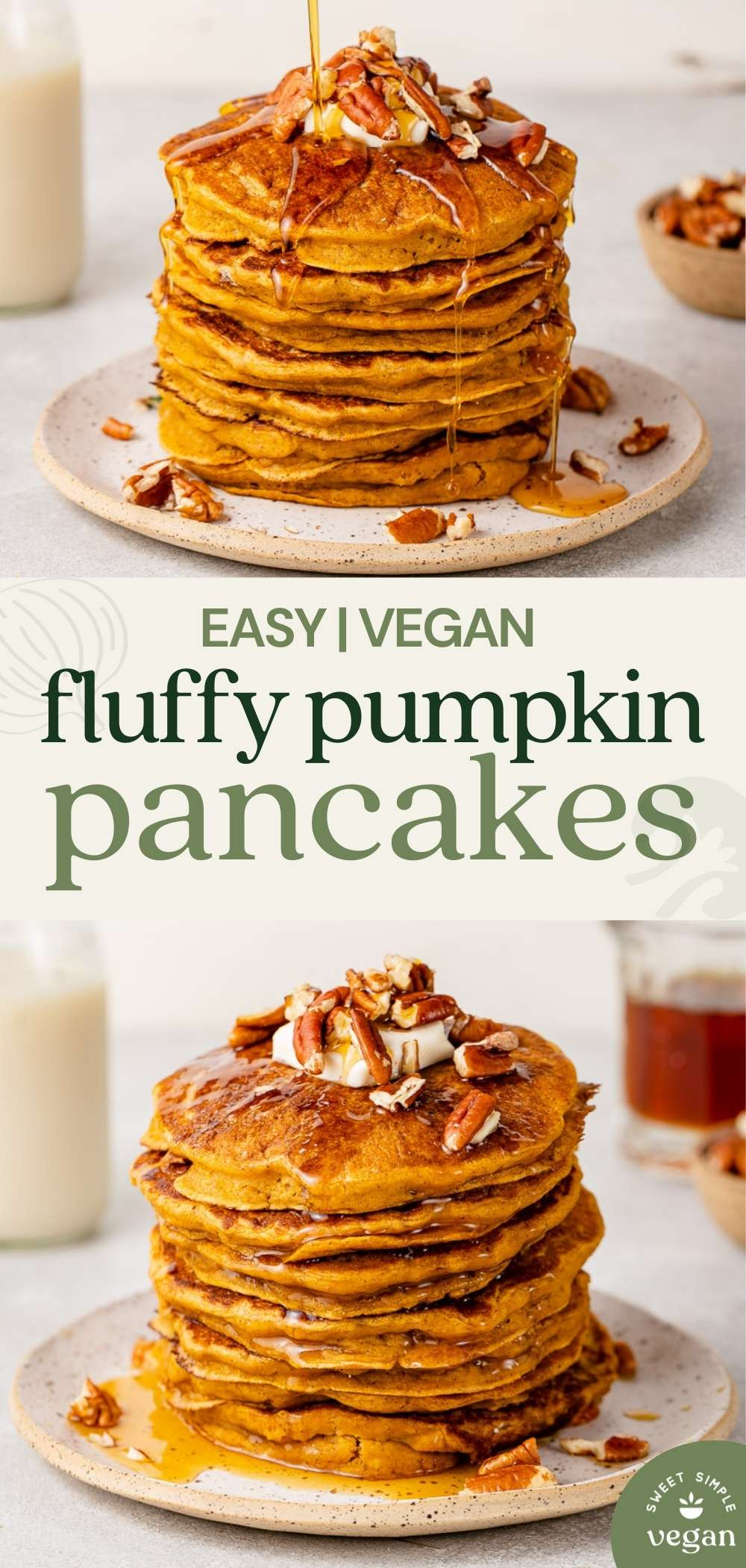 easy vegan fluffy pumpkin pancakes image for pinterest