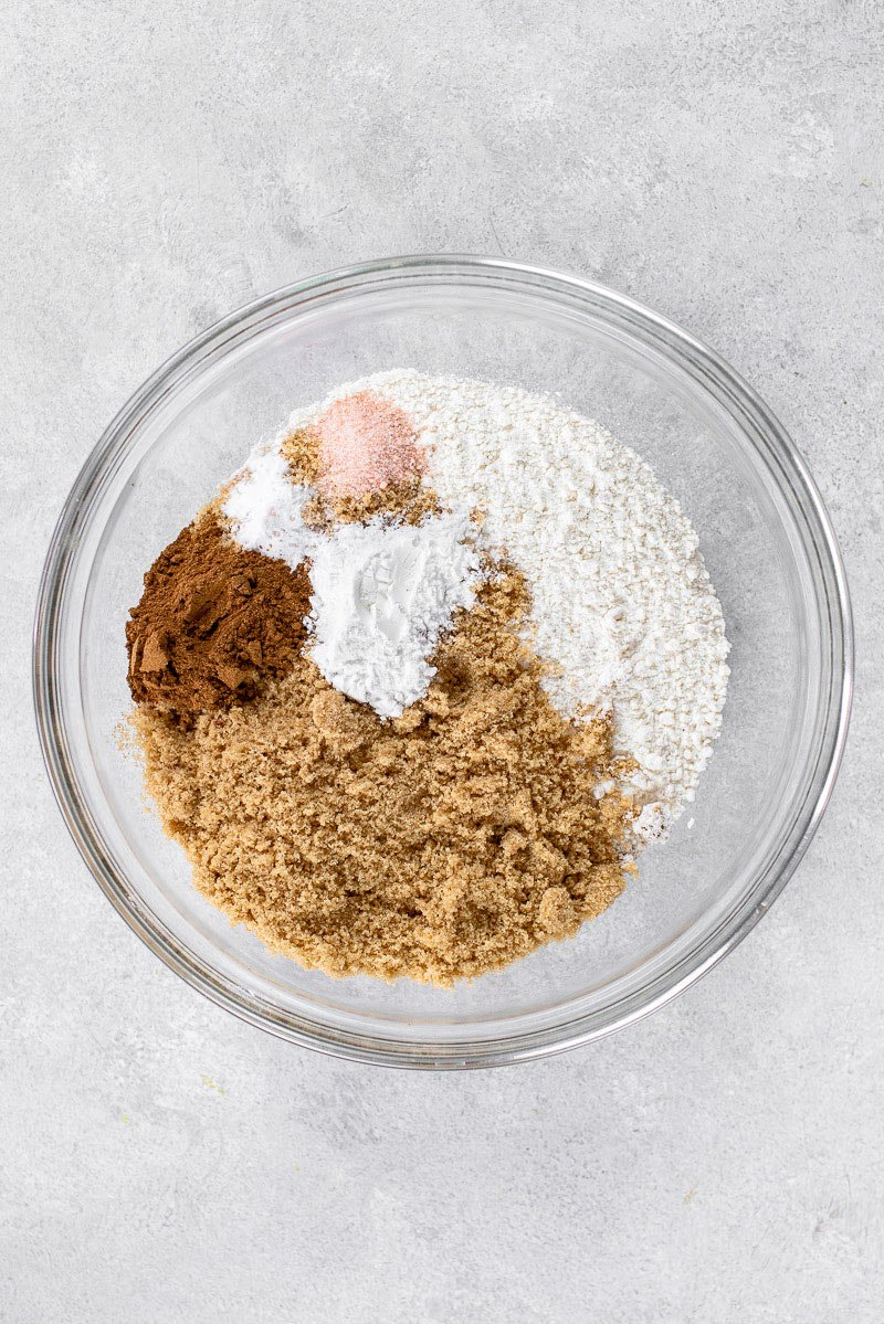 dry ingredients for pumpkin bread in mixing bowl